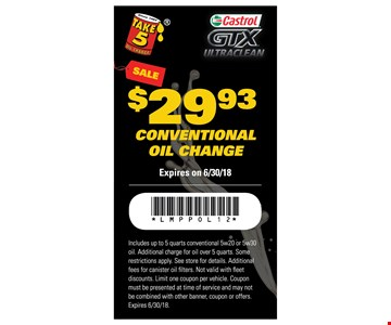 $29.93 Conventional Oil Change