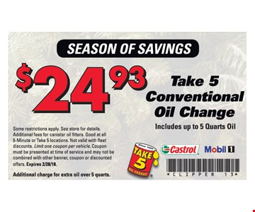 Take 5 conventional oil change for $24.93