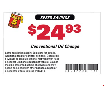 $24.93 Conventional Oil Change