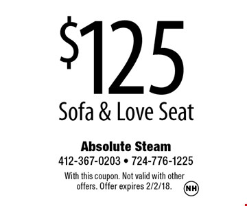 $125 Sofa & Love Seat. With this coupon. Not valid with other offers. Offer expires 2/2/18.