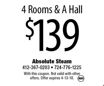 $1394 Rooms & A Hall. With this coupon. Not valid with other offers. Offer expires 4-13-18.