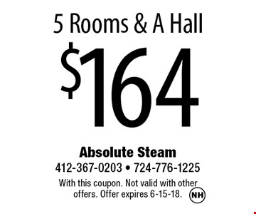 $1645 Rooms & A Hall. With this coupon. Not valid with other offers. Offer expires 6-15-18.