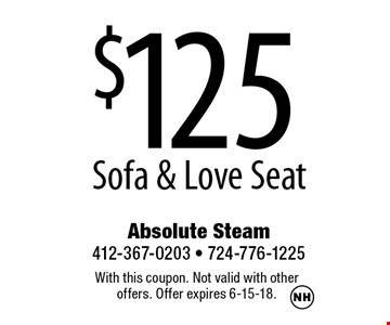 $125 Sofa & Love Seat. With this coupon. Not valid with other offers. Offer expires 6-15-18.