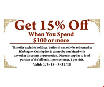 15% off your $100 purchase.