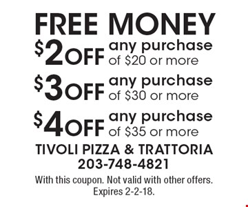 $4 Off any purchase of $35 or more. $3 Off any purchase of $30 or more. $2 Off any purchase of $20 or more. With this coupon. Not valid with other offers. Expires 2-2-18.