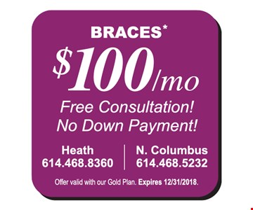 $100/mo free consultation! Not down payment!