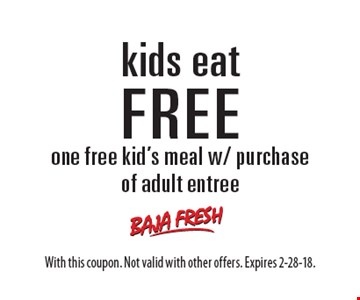 Kids eat FREE. One free kid's meal w/ purchase of adult entree. With this coupon. Not valid with other offers. Expires 2-28-18.