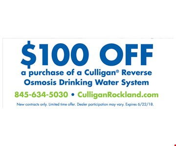 $100 off a purchase of a Mulligan Reverse Osmosis Drinking Water System.