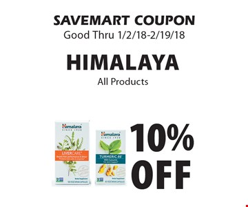 10% off Himalaya All Products. SAVEMART COUPON Good Thru 1/2/18-2/19/18.