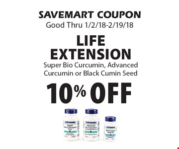 10% off Life Extension Super Bio Curcumin, Advanced Curcumin or Black Cumin Seed. SAVEMART COUPON Good Thru 1/2/18-2/19/18.
