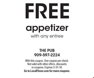 Free appetizer with any entree. With this coupon. One coupon per check. Not valid with other offers, discounts or coupons. Expires 3-31-18. Go to LocalFlavor.com for more coupons.