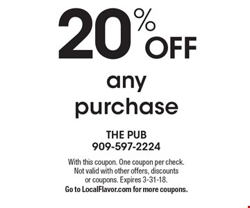 20% off any purchase. With this coupon. One coupon per check. Not valid with other offers, discounts or coupons. Expires 3-31-18. Go to LocalFlavor.com for more coupons.