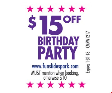 $15.00 Off Birthday Party