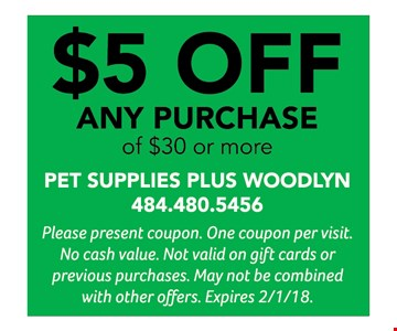 $5 off any purchase of $30 or more