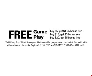FREE Game Playbuy $5, get $1.25 bonus free buy $10, get $3 bonus free buy $20, get $5 bonus free. Valid Every Day. With this coupon. Limit one offer per person or party visit. Not valid with other offers or discounts. Expires 2/2/18.THE MAGIC CASTLE 937-434-4911 ext 1.
