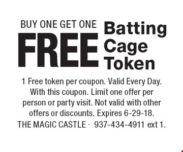 Free Batting Cage Token. BUY ONE GET ONE. 1 Free token per coupon. Valid Every Day. With this coupon. Limit one offer per person or party visit. Not valid with other offers or discounts. Expires 6-29-18.