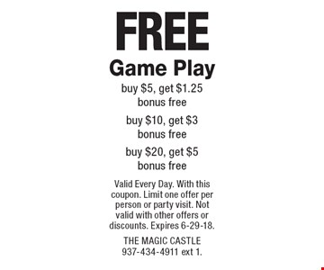 Free Game Play. Buy $5, get $1.25 bonus free. Buy $10, get $3 bonus free. Buy $20, get $5 bonus free. Valid Every Day. With this coupon. Limit one offer per person or party visit. Not valid with other offers or discounts. Expires 6-29-18.
