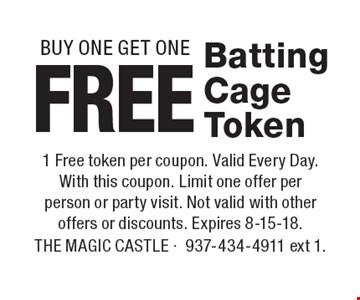 Free Batting Cage Token BUY ONE GET ONE. 1 Free token per coupon. Valid Every Day. With this coupon. Limit one offer per person or party visit. Not valid with other offers or discounts. Expires 8-15-18.