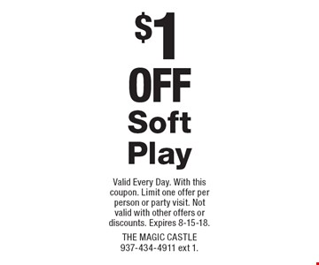 $1 off Soft Play. Valid Every Day. With this coupon. Limit one offer per person or party visit. Not valid with other offers or discounts. Expires 8-15-18.