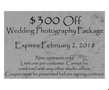 $300 Off Wedding Photography Package