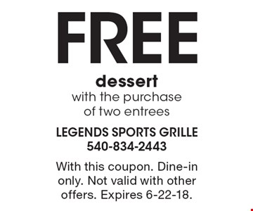 Free dessert with the purchase of two entrees. With this coupon. Dine-in only. Not valid with other offers. Expires 6-22-18.