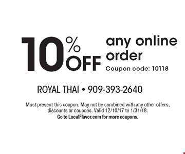 10% OFF any online order Coupon code: 10118. Must present this coupon. May not be combined with any other offers, discounts or coupons. Valid 12/10/17 to 1/31/18. Go to LocalFlavor.com for more coupons.