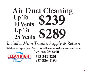 Air Duct Cleaning: $239 Up To 10 Vents. $289 Up To 25 Vents. Includes Main Trunks, Supply & Return. Valid with coupon only. Go to LocalFlavor.com for more coupons. Expires 9/14/18.