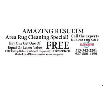 AMAZING RESULTS! Area Rug Cleaning Special! Free area rug cleaning. Buy One Get One Of Equal Or Lesser Value. FREE Pickup/Delivery. Valid with coupon only. Expires 9/14/18. Go to LocalFlavor.com for more coupons.
