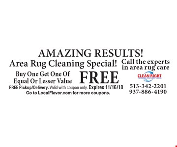 FREE AMAZING RESULTS! Area Rug Cleaning Special! Buy One Get One Of Equal Or Lesser Value. FREE Pickup/Delivery. Valid with coupon only. Expires 11/16/18. Go to LocalFlavor.com for more coupons.