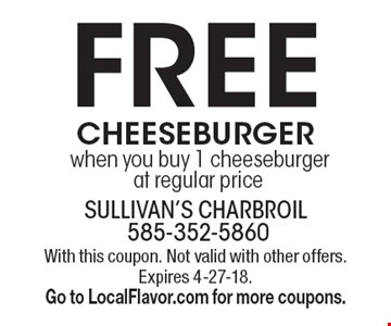 FREE cheeseburger when you buy 1 cheeseburger at regular price. With this coupon. Not valid with other offers. Expires 3-30-18. Go to LocalFlavor.com for more coupons.