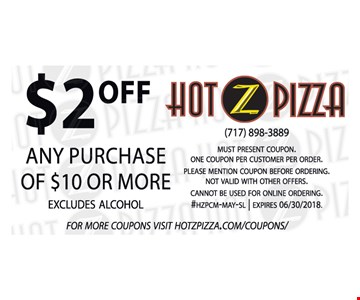 $2 off purchase of $10 or more