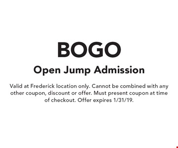 Open Jump Admission BOGO. Valid at Frederick location only. Cannot be combined with any other coupon, discount or offer. Must present coupon at time of checkout. Offer expires 1/31/19.