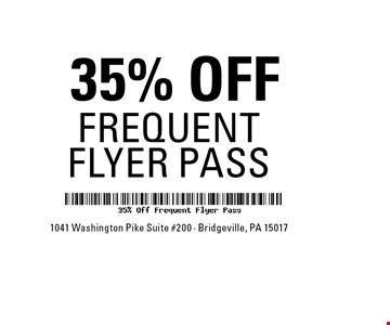 35% OFF FREQUENT FLYER PASS.