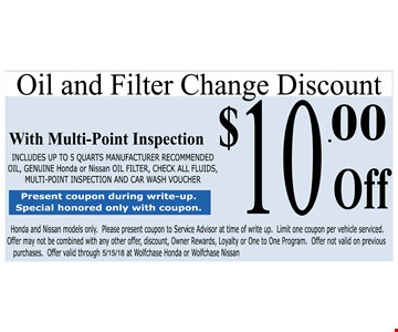 $10.00 Off Oil And Filter Change Discount With Multi-Point Inspection
