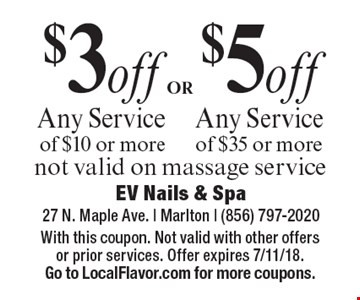 $3 off Any Service of $10 or more OR $5 off Any Service of $35 or more. not valid on massage service. With this coupon. Not valid with other offers or prior services. Offer expires 7/11/18. Go to LocalFlavor.com for more coupons.