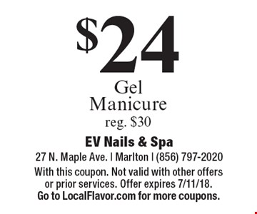 $24 Gel Manicure reg. $30. With this coupon. Not valid with other offers or prior services. Offer expires 7/11/18. Go to LocalFlavor.com for more coupons.