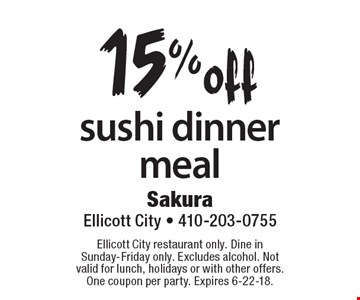 15% off sushi dinner meal. Ellicott City restaurant only. Dine in Sunday-Friday only. Excludes alcohol. Not valid for lunch, holidays or with other offers. One coupon per party. Expires 6-22-18.