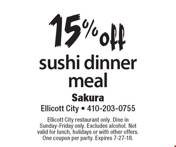 15% off sushi dinner meal. Ellicott City restaurant only. Dine in Sunday-Friday only. Excludes alcohol. Not valid for lunch, holidays or with other offers. One coupon per party. Expires 7-27-18.
