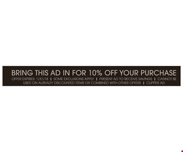 10% off your purchase.