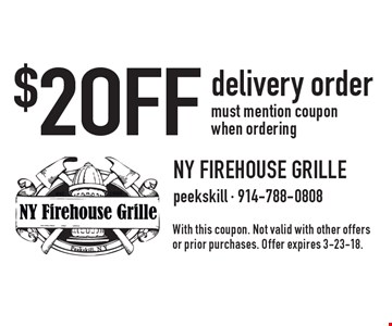 $2 OFF delivery order. Must mention coupon when ordering. With this coupon. Not valid with other offers or prior purchases. Offer expires 3-23-18.