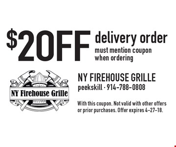 $2 OFF delivery order must mention coupon when ordering. With this coupon. Not valid with other offers or prior purchases. Offer expires 4-27-18.