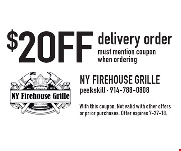 $2 OFF delivery order must mention coupon when ordering. With this coupon. Not valid with other offers or prior purchases. Offer expires 7-27-18.