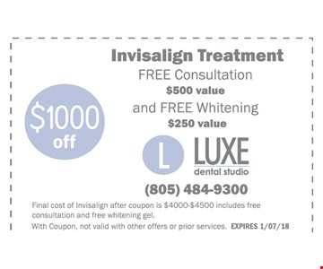 $1000 off Invisalign Treatment - Free Consultaion and free Whitening