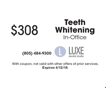 $308 Teeth Whitening In-Office. With coupon, not valid with other offers of prior services. Expires 4/12/18.