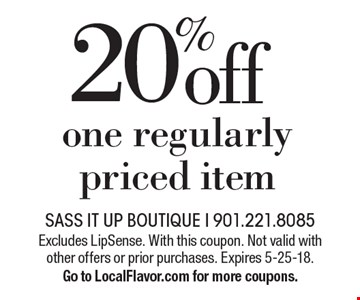 20% off one regularly priced item. Excludes LipSense. With this coupon. Not valid with other offers or prior purchases. Expires 5-25-18. Go to LocalFlavor.com for more coupons.