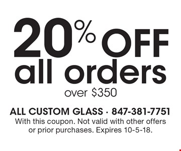 20% Off all orders over $350. With this coupon. Not valid with other offers or prior purchases. Expires 10-5-18.