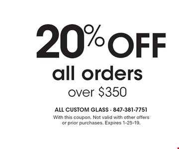 20% OFF all orders over $350. With this coupon. Not valid with other offers or prior purchases. Expires 1-25-19.