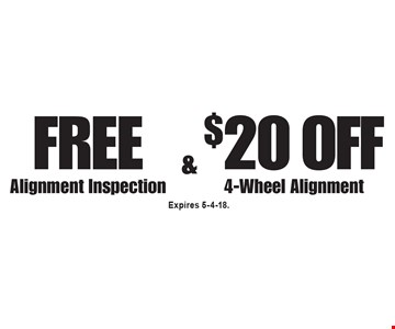 Free Alignment Inspection & $20 Off 4-Wheel Alignment. Expires 5-4-18.