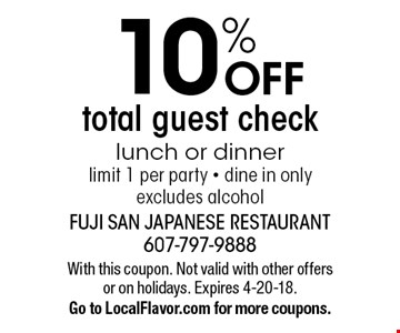 10% OFF total guest check lunch or dinner, limit 1 per party - dine in only, excludes alcohol. With this coupon. Not valid with other offers or on holidays. Expires 4-20-18. Go to LocalFlavor.com for more coupons.