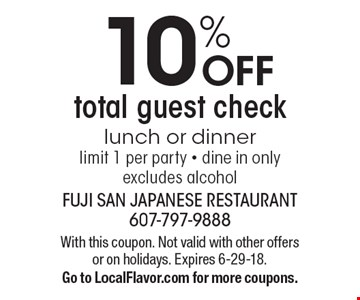 10% OFF total guest check lunch or dinner limit 1 per party - dine in only excludes alcohol. With this coupon. Not valid with other offers or on holidays. Expires 6-29-18. Go to LocalFlavor.com for more coupons.